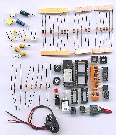 Photo des composants nécéssaires à la réalisation du montage